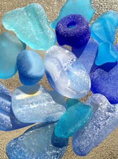 another pinner said: Sea glass. So many memories of looking for glass on the beach at Grandma and Grandpa's :) Sea Glass Beach, Sea Glass Art, Sea Glass Jewelry, My Favorite Color, My Favorite Things, Shades Of Blue, Sea Shells, Blues, Pottery