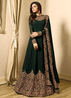 Buy Embroidered Georgette Abaya Style Suit in Dark Green online Item code Color Green Occasion Wedding Bollywood Theme Work Designer Dori Work Zari Fabric Georgette Gender Women Designer Anarkali, Designer Gowns, Indian Designer Wear, Costumes Anarkali, Anarkali Gown, Anarkali Suits, Long Anarkali, Black Anarkali, Indian Anarkali