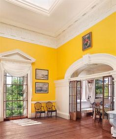 Monticello Dining Room Chromium Yellow Paint Color Historic Bob Vila    Interior but it is chrome-scream yellow!