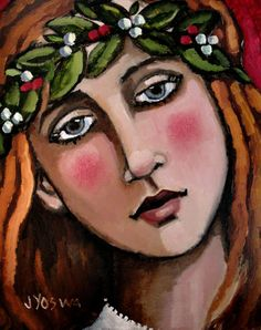 Girl Wearing Wreath by Jennifer Yoswa