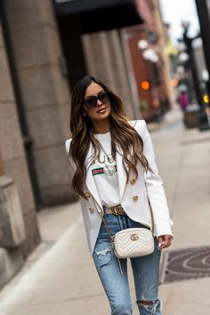 The Designer Pieces on My Spring Wishlist - Mia Mia Mine Blazer Outfits Casual, Classy Work Outfits, Black Outfits, Workwear Fashion, Office Fashion Women, Gucci Tee, Gucci Shirts, Winter Date Night Outfits, Balmain Blazer