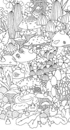 Nature nice mushroom coloring page for kids, printable free ... | 438x236