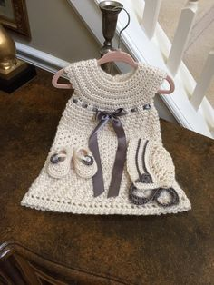 Crochet Christening Gown Bonnet and slippers . Baby by lisaswick
