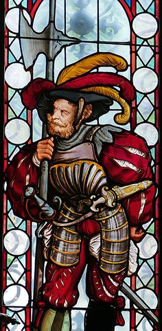 Stained glass window of knight with axe, Peles Castle, Romania.  Photo Copyright 2017 Michael McLaughlin.