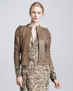 Great Jkt! Ruch-Sleeve Motorcycle Jacket by Skaist Taylor at Neiman Marcus.