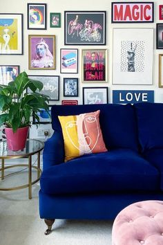 Now this (and the rest of the pictures in this article) is how you style a living room gallery wall! These ideas and layouts will give you some much needed inspiration, there's also a stairway gallery wall in the article which is a great example of how to perfect them.  Image by @eli_at_home Stairway Picture Wall, Stairway Pictures, Stairway Gallery Wall, Blue Velvet Sofa, Minimalist Apartment, Apartment Living, Apartment Therapy, Living Room Inspiration, Wall Prints