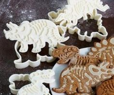 Kids love dinosaurs and everyone loves cookies, so these Dig-Ins Dinosaur Cookie Cutters are all win. Make some cookies that can bite back! First, punch cr Dinosaur Cookie Cutters, Dinosaur Cookies, Dinosaur Fossils, Cookie Cutter Set, Dinosaur Dinosaur, Dinosaur Bones, Cookie Dough, Dinosaur Party, Cute Kitchen
