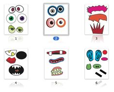 Build your own monster. Free printables. I am going to put these on magnets so the kids will have a blast.