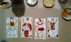 Hes Marseille Tarot, re-created, first four trumps in making