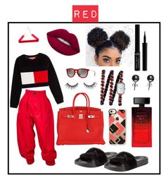 """""""♡red♡"""" by tlphil on Polyvore featuring Yves Saint Laurent, Hilfiger Collection, Puma, Hermès, Lime Crime, Elizabeth Arden, Giorgio Armani, Chanel, Casetify and Black"""