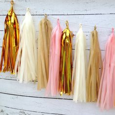 Gold, burlap, pink and ivory.this beautiful, rustic shabby chic banner will add the finishing touch your party decorations! You will receive a tissue tassel garland kit* with 20 tassels for assembli Sweet 16 Decorations, Pink Party Decorations, Adult Birthday Party, Girl Birthday, 16th Birthday, Birthday Ideas, Birthday Cakes, Baby Shower, Girl Shower
