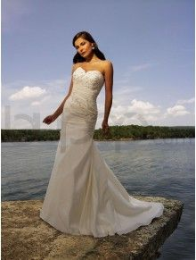 A-line Taffeta Asymmetrical Ruched Bodice Sweetheart Neckline Sweep Train Wedding Dresses (902)