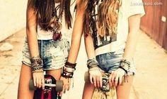 Best friends fashion summer hair friends jewelry outdoors bracelets skater