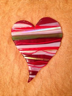 Fused Glass Heart in a Beautiful Color Palette of Blood-Red, Pink & Lavender w/Gold-tone Dichroic and Iridescent Accents Fused Glass Ornaments, Fused Glass Jewelry, Fused Glass Art, Glass Wall Art, Dichroic Glass, Mosaic Glass, Glass Pendants, Stained Glass, Glass Fusion Ideas