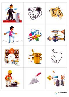 "Непоседы: Развивающая игра ""Кому что надо?"" Community Workers, Community Helpers, Learning English For Kids, Preschool Worksheets, Cute Pins, Infant Activities, Classroom Decor, Special Education, Card Games"