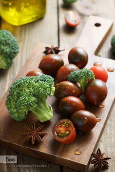 Broccoli and tomatos for salad by romashokk - Pinned by Mak Khalaf