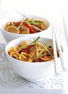 Sticky lemon and chilli chicken noodles