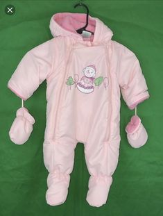 3f84504d7 Girl's Okie-Dokie Pink, Fleece Lined, Footed Snowsuit With Adorable Snowman  On The Front, Snowsuit comes with Mittens. View pictures for details and ...