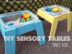 Sensory tables. We really need something like this so N will stop using the dog food  water dishes as sensory stations! Yuck! Lol!
