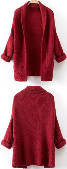How to get a easy quick fix at warm travel time ?Long knit cardigan can't be more good for you! Red sweater coat with long sleeve & wrap neck ,such casual warm look is just so fashion !