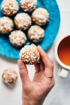 15 Must-Try peanut butter balls small batch seasonal favorites and other ideas for this week Peanut Butter Power Balls, Coconut Peanut Butter, Yummy Snacks, Snack Recipes, Cooking Recipes, Coconut Balls, Dairy Free Recipes, Gluten Free, Protein Ball