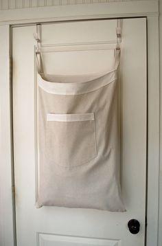 Hanging Hamper Laundry Bag -- Drawstring Bag with Shoulder Strap -- Natural Canvas White Trim Large Laundry Hamper, Laundry Storage, Cubicle Organization, Laundry Room Design, Wardrobe Design, Sewing Projects For Beginners, Easy Diy Crafts, White Trim, Shoulder Strap