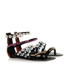 Giuseppe Zanotti Flat Sandals With Back Zip And Multicolored Crystal Brown