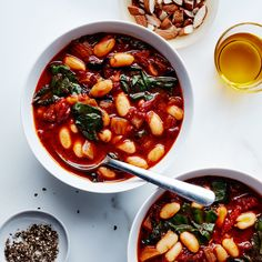 You can swap other greens, like spinach, for the chard. This soup tastes even better after being chilled for a day or two.