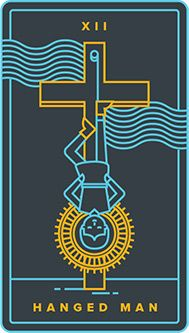 The meaning of The Hanged Man from the Universal Waite Tarot deck: You have reached a crossroads, making it possible to clear the slate and start over. Golden Thread Tarot, The Hanged Man, Tarot Card Meanings, Major Arcana, Human Condition, Tarot Decks, Deck Of Cards, Tarot Cards, Man Card
