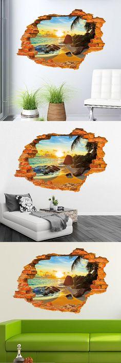Super Stereoscopic Beach Sunshine 3D Wall Art Sticker Home Decoration Stickers Rooms Decor Waterproof For Bathroom Muurstickers $9.2