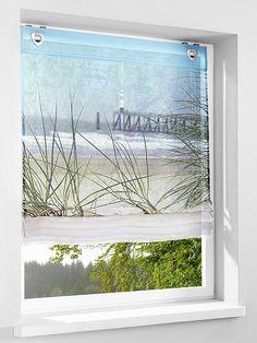 Digitalbedruckt mit tollem Strand-Motiv. Mit Haken und Ösen. Transparent. Materialzusammensetzung: Obermaterial: 100% Polyester...
