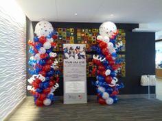 Patriotic balloon columns balloon towers TEAM USA balloons
