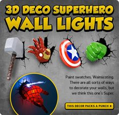 These 3d deco superhero wall lights will help you see in the dark 3d deco superhero wall lights flash solver mozeypictures Gallery
