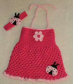 Crochet summer halter dress for infant girl with matching headband - pink with ladybugs