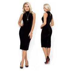Бархатное платье-футляр с воротником-стойка, фигурными вытачками и отрезное по талии 11966 Your Style