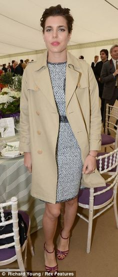 Charlotte Casiraghi at Cartier Queen's Cup polo match...interesting outfit for polo.   She stands out (in a good way...)