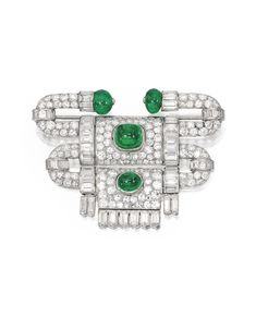PLATINUM, EMERALD AND DIAMOND BROOCH, VAN CLEEF & ARPELS, FRANCE, 1927. Of articulated geometric design, set with two round emerald beads and two cabochon emeralds weighing approximately 11.75 carats, accented by numerous old European and single-cut diamonds weighing approximately 8.45 carats and numerous baguette diamonds weighing approximately 7.95 carats, signed VCA, From France, with French assay marks.