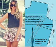 Patrón básico delantero de blusa personalizado (A medida o anatómico) (Actualizado) Bodice Pattern, Dress Sewing Patterns, Beading Tutorials, Photo Tips, Floral Blouse, Diy Clothes, Glamour, Google, Fashion