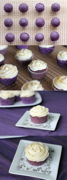 Lavender Cupcakes with Honey Frosting 1/2 cup (1 stick) butter, softened 1 cup sugar 2 eggs 2 teaspoons vanilla extract 1 teaspoon red and 1 teaspoon blue food coloring* 1 1/2 cups all-purpose flour 1/2 teaspoon baking powder 1/4 teaspoon salt 2 1/2 tablespoons dried lavender buds 2/3 cup cold milk