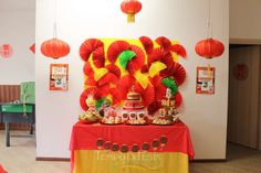 Loving the dessert table at this gorgeous Chinese birthday party! See more party ideas and share yours at CatchMyParty.com