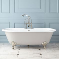 "66"" Sanford Cast Iron Clawfoot Tub - Imperial Feet - Light Gray - Cast Iron Tubs - Bathtubs - Bathroom"