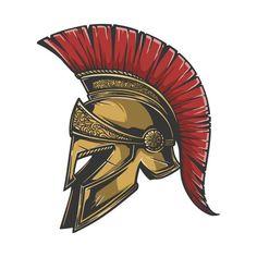 Warrior Logo, Warrior Helmet, Spartan Warrior, Spartan Spear, Spartan Helmet Tattoo, Helmet Design, Badge Design, Logo Design, Sparta Tattoo
