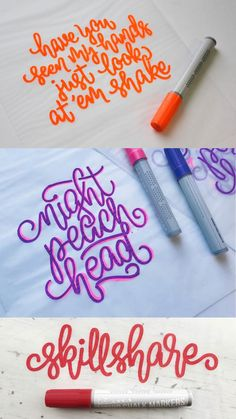 Pick your favorite color and start writing. Write your favorite word, lyric, or quote. Don't stop and keep practicing hand lettering with Kassa chalk markers Hand Lettering Art, Creative Lettering, Favorite Words, Favorite Color, Water Brush Pen, Journal Fonts, Craft Projects, Craft Ideas, Kinds Of Colors