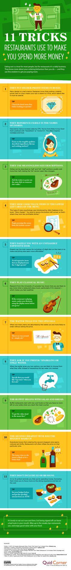 11 Tricks Restaurants Use to Make You Spend More Money #Infographic #Saving #Money