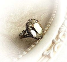 Clear Swarovski crystal ring gothic bridal by MidnightVision
