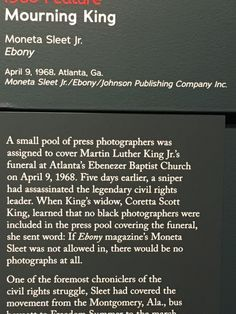 Dr. Martin Luther King. An amazing Pulitzer Prize winning photographic essay that was up in the Newseum.