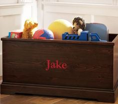 cute basic toy chest. would be cute with grooved panels