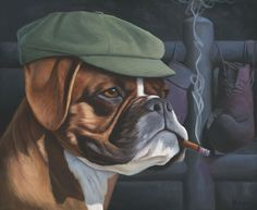 The Boxer, painting of a brown and white boxer dog wearing a green newsboy cap and smoking a cigar with boxing gloves in background, art with boxer boxing ring, dog, trompe l'oeil, soulful uplifting inspirational art, soul stirring illusion art, romantic art, surrealism, surreal art, dreamlike imagery, fanciful art, fantasy art, dreamscape visual, metaphysical art, spiritual painting, metaphysical painting, spiritual art, whimsical art, whimsy art, dream art, fantastic realism art, magic…