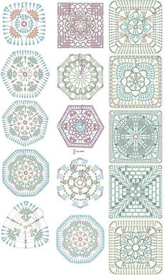 Easy to make crochet granny square pattern. Free crochet chart by Color'n creamColor 'n Cream Crochet and Dream: New Flower Squarecrochê passo a passo ( Crochet Motif Patterns, Granny Square Crochet Pattern, Crochet Blocks, Crochet Diagram, Crochet Chart, Crochet Squares, Crochet Designs, Knitting Patterns, Crochet Granny