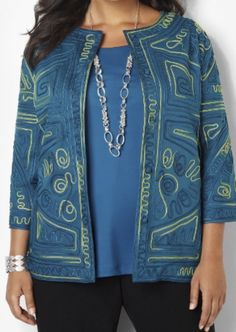 CATHERINES INTRIGUE SOUTACHE JACKET - PLUS SIZE 5X (34/36W) #Catherines #EmbroideredJacket